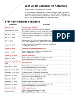 BFP Recruitment 2018 Calendar of Activities