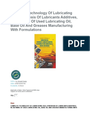 Complete Technology of Lubrication Oil and Lubricants Formulations
