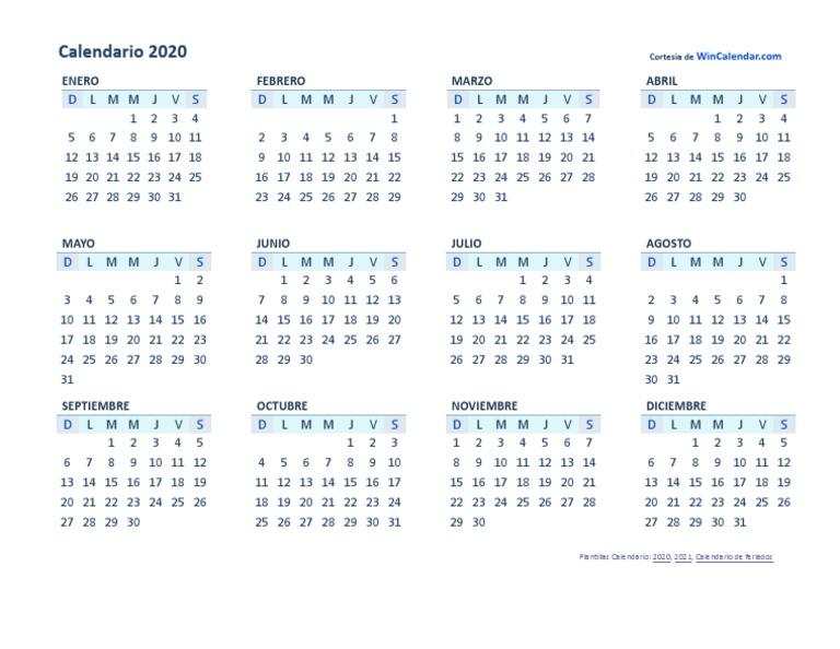 Calendario Chile 2020.2020 Docx