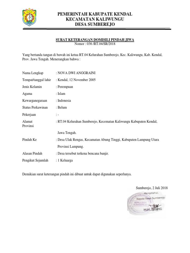 Contoh Surat Keterangan Pindah Domisili Dari Kelurahan Nusagates
