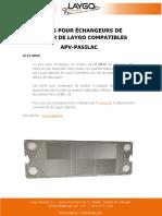 JOINTS POUR ÉCHANGEURS DE CHALEUR DE LAYGO COMPATIBLES APV-PASILAC