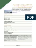Formulaire d'inscription et d'adhésion à l' associtaion de préfiguration d'un Centre Culturel de Rencontre à Toulon Isa  (1)