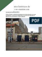Monumentos Históricos de Huancayo No Cuentan Con Mantenimiento