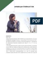 Escrito que presentó CFK al juez Bonadio el 3/9/2018
