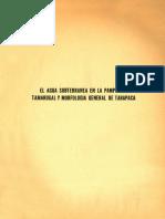 Agua subterranea en la pampa del tamarugal y morfologia general de Tarapaca