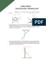 2ª Lista de Exercícios Mecânica Geral