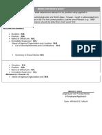 Work Experience Sheet