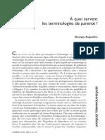 A Quoi Servent Les Terminologies de Parente - Augustins