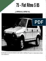 Fiat Ritmp 1980 Varianti Al Libretto Uso e Manutenzione Per Super 75 e Super 85