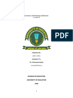 Assignment Economics and Financing of Education Docx