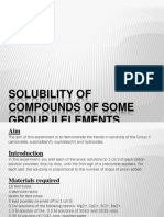 Solubility of Compounds of Some Group II Elements