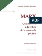 MARX, Karl, [1859] Contribución a La Crítica de La Economía Política