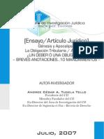 El Deber Obligación Tributario Aduanero - Andree Tudela