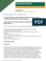 Consumo de Forraje y Ganancia Diaria de Peso en Bovinos de Carne en Crecimiento Suplementados Con Fuentes Proteicas