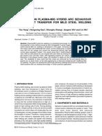Study on PLASMA-MIG Hybrid Arc Behaviour and Droplet Transfer for Mild Steel Welding
