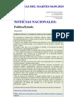 Noticias Del Martes 04.09.2018