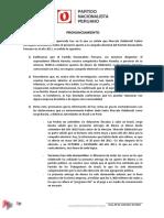 Partido Nacionalista Peruano_Pronunciamiento