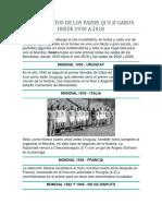 Campeonatos de Los Paises Que Jugaron Desde 1930 a 2018