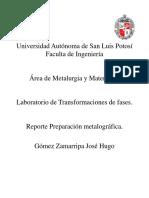 Reporte Preparación Metalografica Tf.