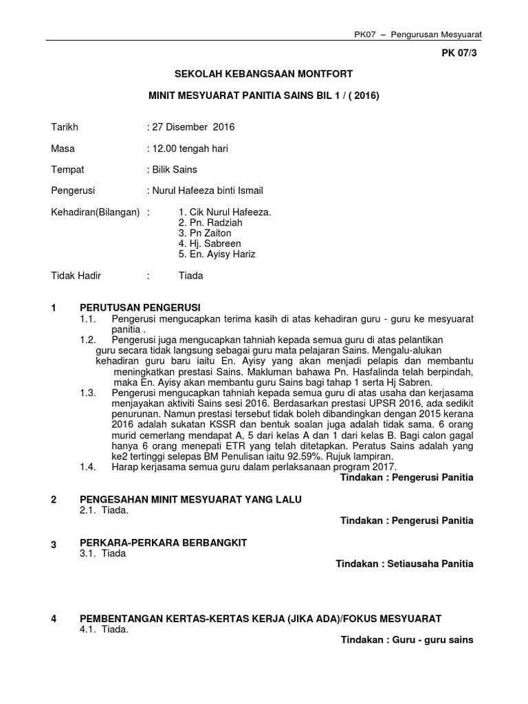 Minit Mesyuarat Panitia Sains Terbaru 2018 Docx
