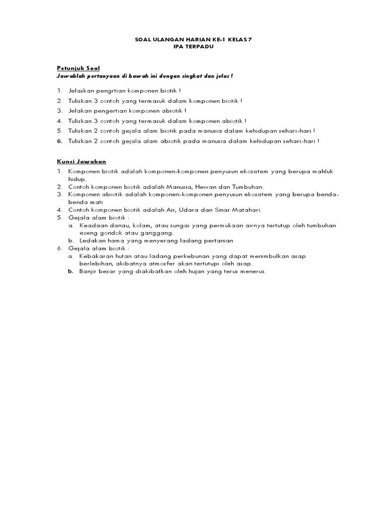 Soal Ipa Kelas 10 Smk Bab Gejala Alam Abiotik