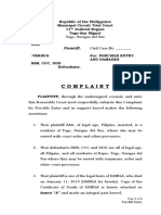 Complaint for Forcible Entry