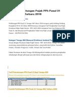 Contoh Perhitungan Pajak PPh Pasal 21 Tenaga Ahli Terbaru 2018