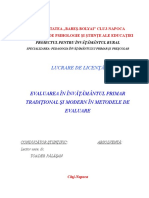 Evaluarea in Invatamantul Primar Traditional Si Modern in Metodele de Evaluare Doc Doc