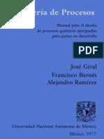 Ingenieria de Procesos. Manual Para El Dis - J. Giral
