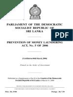 CBSL Money Laundering Act 2006-5 (English)