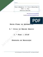 Proposta de Resolução Da Prova Final de Matemática - 3.º Ciclo Do Ensino Secundário - 1.ª Fase de 2018