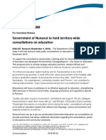 Government of Nunavut Leaflet and News Release on Education Act