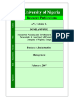 Manpower Planning and Development in Nigeria Parastatals a Case Study of Power Holding Company of Nigeria, Enugu