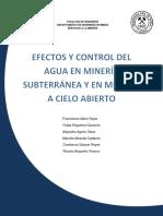 Efectos y Control Del Agua en MInería Sub. y Cielo Abierto