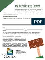 Goleta Park Naming Contest Entry Form