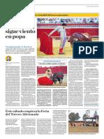 El Comercio (Lima-Peru) Lun 6 Ago 2018 (Pag A22) Pagina Taurina