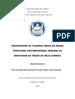Personagens Da Tragédia Grega No Drama Português Contemporâneo - Demanda Da Identidade Na Tríade de Hélia Correia
