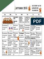 September Calendar 2018 3rd
