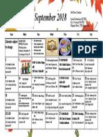 September Calendar 2018 4th