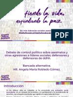 Presentación Debate de Control Político de crímenes contra líderes sociales, 5 sep de 2018.