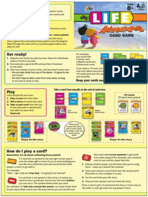 Game Of Life Adventure Card Game Rules Consumer Goods