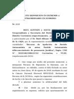 Recurso de Reposicion in Extremis C-Apelación en Subsidio