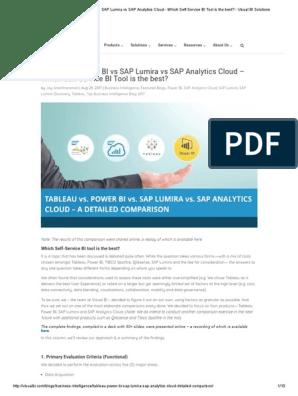 Tableau vs Power BI vs SAP Lumira vs SAP Analytics Cloud