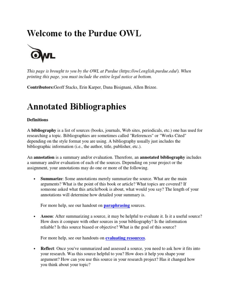 Annotated Bibliography Handout Books Can We Paraphrase In