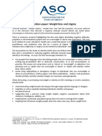 ASO Position Paper on Weight Bias and Stigma