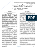 Review on Consumer Buying Behaviour and its Influence on Emotional Values and Perceived Quality with Respect to Organic Food Products