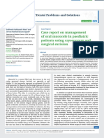Case report on management of oral mucocele in paediatric patients using cryosurgery and surgical excision