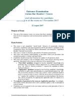 2017-08-22 General Information - Entrance Exam for 3 November 2017