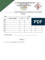 Ficha de Inscripción y Nómina de Jugadores de Atletismo Damas