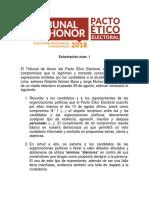 Elecciones 2018 Tribunal de Honor Exhortación 01